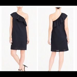 NWT J. Crew One Shoulder Ruffle Black Dress Sz S
